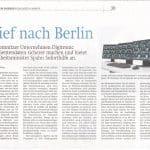 Zeitungsartikel Brief nach Berlin